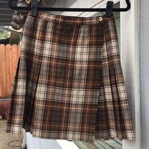 Dresses & Skirts - Vintage Brown Plaid Pleated Short Kilt Wrap Skirt